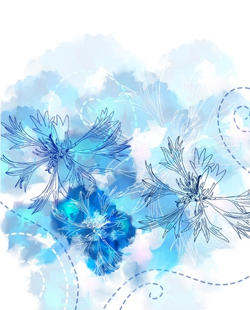 Romantic Flower Background with cornflower Vector