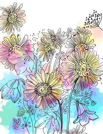 camomile flower: Romantic colorful flower background Illustration