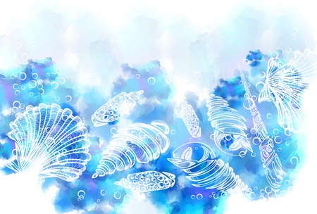 mussel: Hand Drawn background with see shell, beautiful illustration