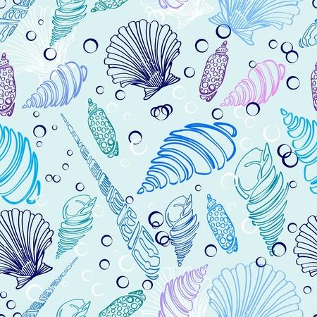 海のシェルのシームレスなパターン、美しいイラスト  イラスト・ベクター素材