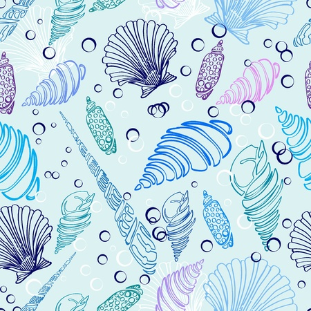 mussel: Sea shell seamless pattern, beautiful illustration