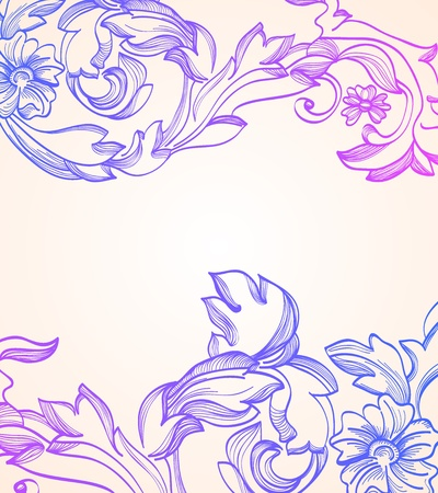 Hand Drawn floral vintage background, beautiful illustration Vector