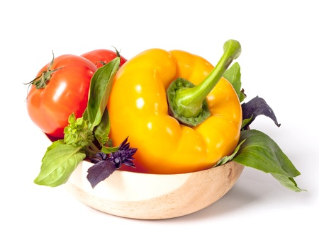 Tomato, pepper, red and green basil background photo