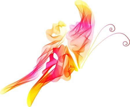 papillon rose: Lisse abstraite rouge et fond papillon rose, belle illustration Illustration
