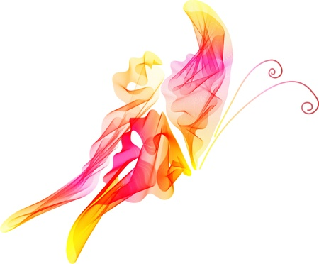pink butterfly: Smooth abstract red and pink butterfly background, beautiful illustration Illustration