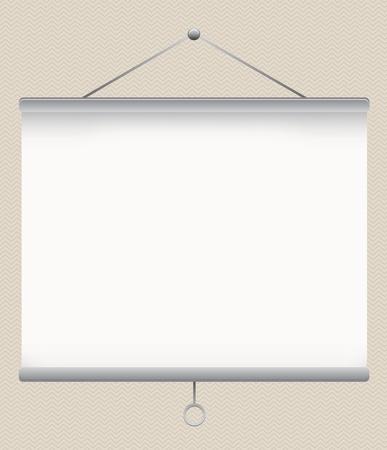 projector screen: bianco schermo del proiettore vuoto sulla parete illustrazione, Vettoriali
