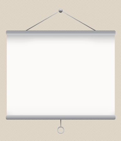 white empty projector screen on the wall, illustration Stock Vector - 13198561