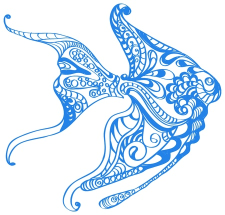 blue fish: Abstract blue fish background, beautiful illustration