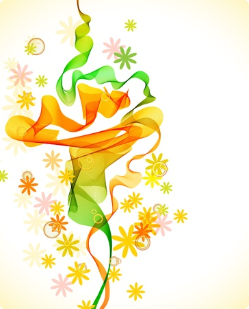 smooth curve design: Beautiful abstract background with flowers and wave, illustration