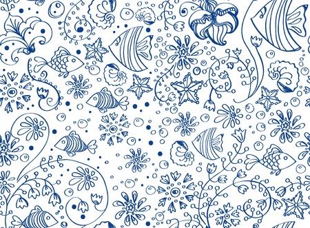 alga: seamless sea background with fish and flowers over white, beautiful illustration Illustration