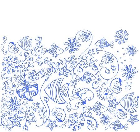 seetang: Hintergrund Meer mit Fischen und Blumen auf wei�em, sch�ne Illustration