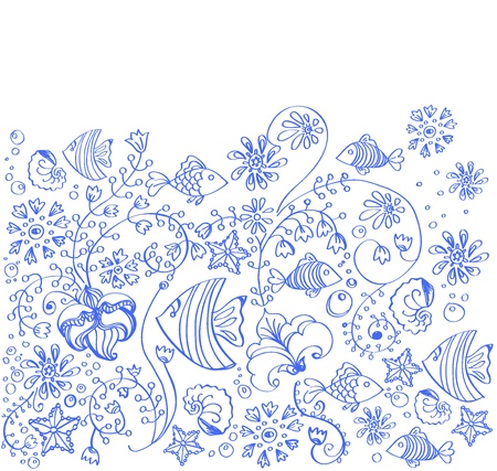 algas marinas: mar de fondo de pescado y flores en blanco ilustración, hermosa