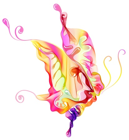 Smooth colorful abstract butterfly over white, illustration Vector