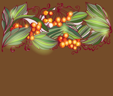 ash: autumn background with branches rowan, illustration