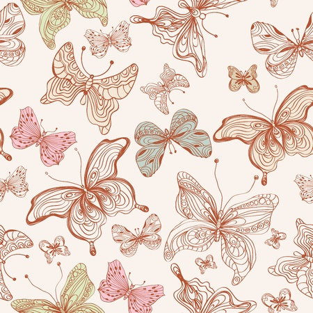 Seamless butterfly background, illustration Vector