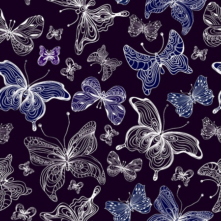 Seamless butterfly background,dark  illustration Vector