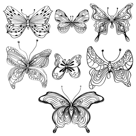 moth: Hand Drawn Beautiful set of butterfly over white, illustration Illustration