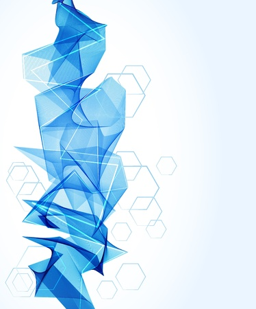 hexahedron: Abstract background with blue wave and hexahedron, illustration