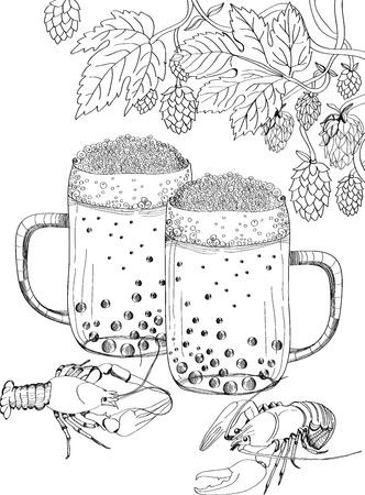 crawfish: Crawfish, hop and beer, illustration