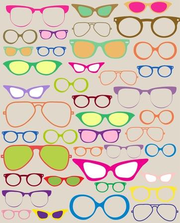 fashion bril: set van verschillende brillen, mooie illustratie Stock Illustratie