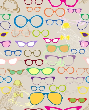 character set: Seamless background with color eyeglasses, illustration