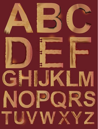 burnt paper: Grunge paper alphabet, ABC iluustration Illustration