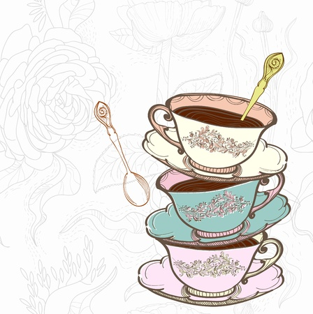 tarde de cafe: té de la taza de fondo con una cuchara, la ilustración