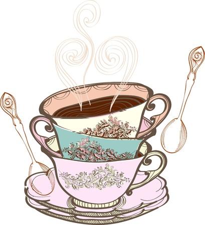 afternoon cafe: t� de la taza de fondo con una cuchara, la ilustraci�n