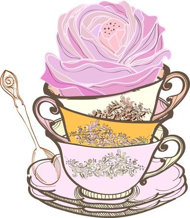 tarde de cafe: el té de fondo con una cuchara y taza de las flores, ilustración