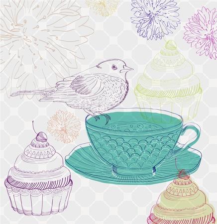 tarde de cafe: el té de fondo el tiempo con pastelitos y aves, hermosa ilustración Vectores