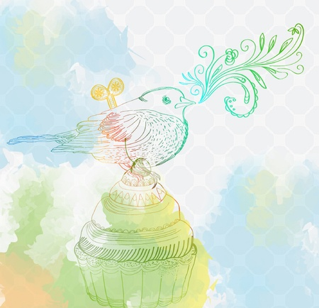 tempting: Background with cupcake and clockwork bird, beautiful illustration
