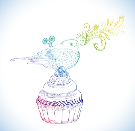 Background with cupcake and clockwork bird, beautiful illustration Vector