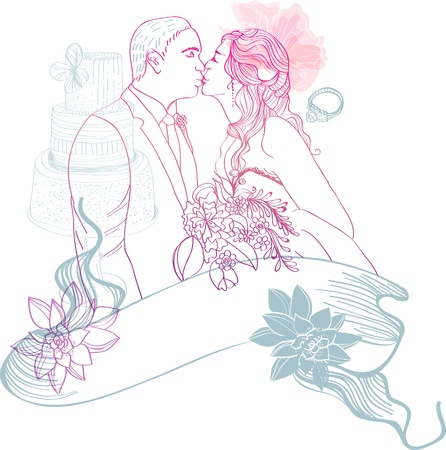 love kiss: Bride and Groom  Wedding Background with different elements