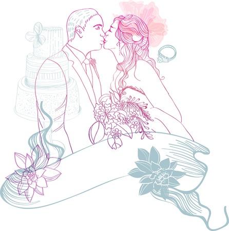 genegenheid: Bruid en Bruidegom Bruiloft Achtergrond met verschillende elementen Stock Illustratie