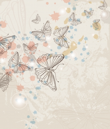 clean up: Grunge background with butterfly, illustration Illustration