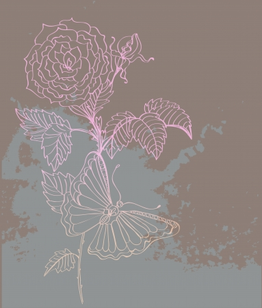 doodle background with roses and butterflies, hand-drawing illustration Vector