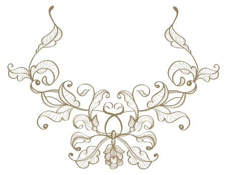 rococo: Vintage floral ornament, retro illustration
