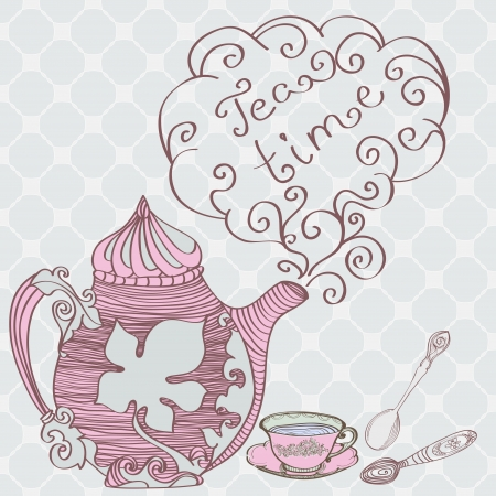 teapot: Tea time background, illustration Illustration