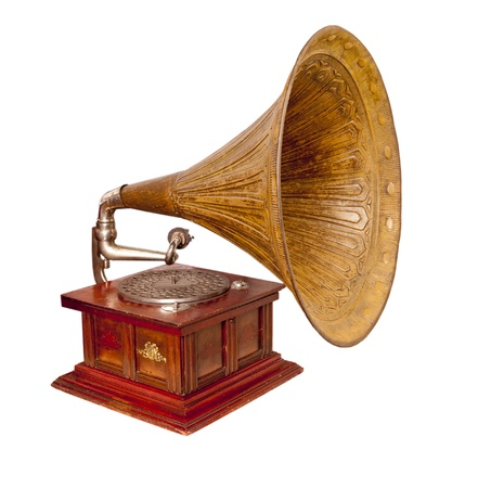 phonograph: Old record player over white background. Retro image