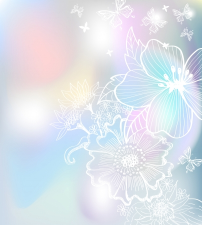 Romantic colorful flower background for design, hand-drawing illustration Vector