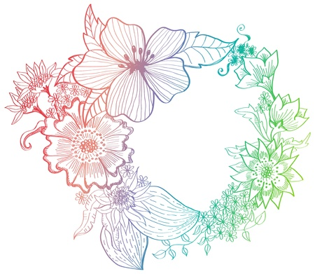 Romantic colorful flower background, hand-drawing illustration Vector