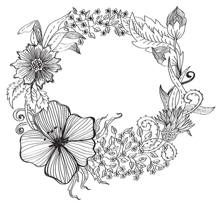 floral wreath: Romantic flower background for design, hand-drawing illustration Illustration