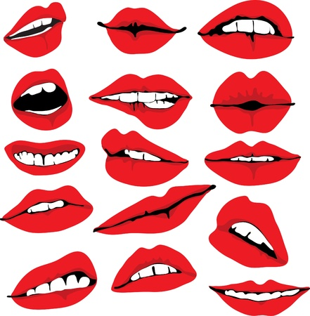 open lips: Set of different lips, illustration Illustration