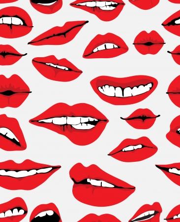ajakrúzs: Folytonos háttér különböző piros ajkak, szürke, vicces illusztráció Illusztráció