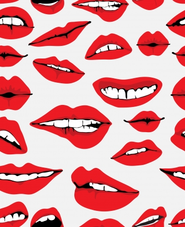 lipstick kiss mark: Seamless background with different red lips over gray, funny illustration