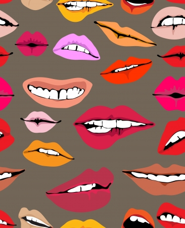 Seamless background with different lips, funny illustration Stock Vector - 13777127