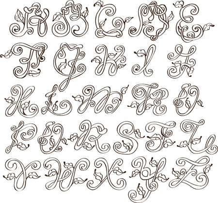 Abstract ABC,natural alphabet with leaves, illustration