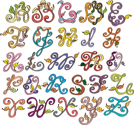 Abstract ABC,natural alphabet with leaves, illustration Vector