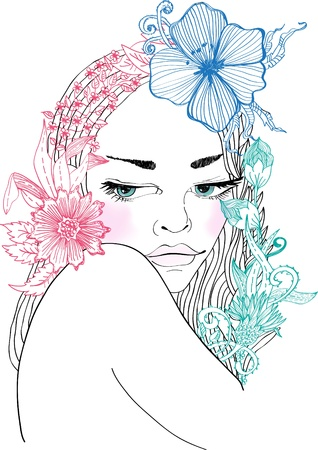 Hand Drawn Beautiful woman with flowers in hair, beautiful colorful illustration Vector