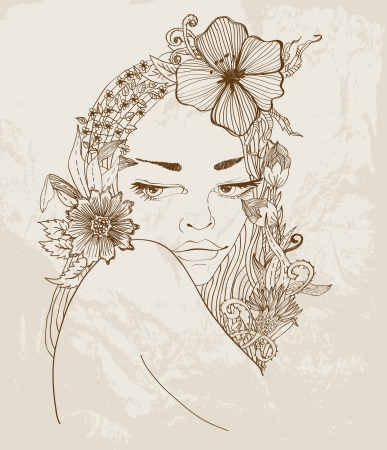 Hand Drawn Beautiful woman with flowers in hair, beautiful colorful illustration